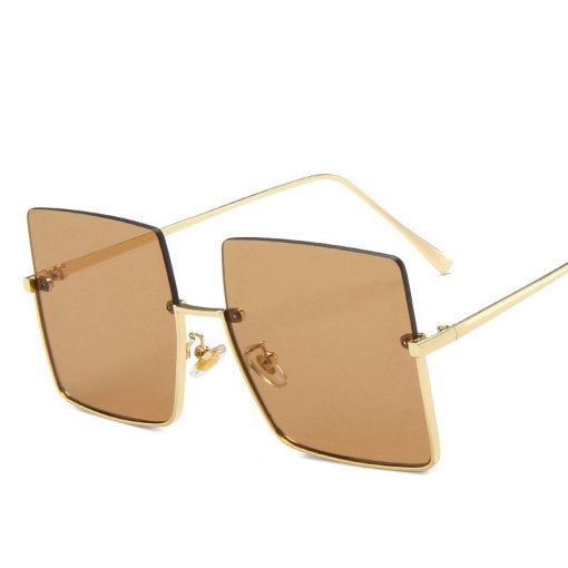 2020 Metal Semi-rimless Sunglasses Women Retro Oversized Square Sun Glasses Men Fashion Half Metal Frame Streetwear Eyewear UV