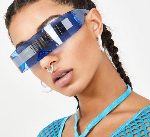 80s Futuristic Cyclops Cyberpunk Visor Sunglasses with Semi Translucent Mirrored Lens