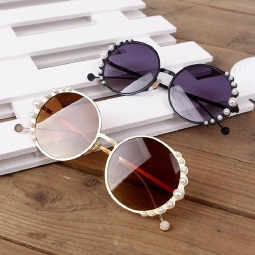 Clubmaster Brown Round Rim Sunglasses UV400