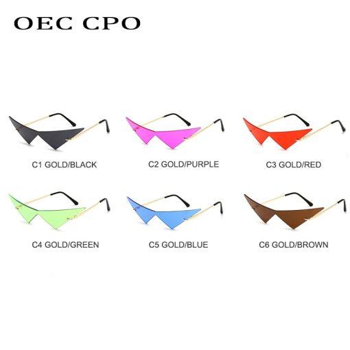 OEC CPO Oversized Cat eye Rimless Sunglasses Women Fashion One Piece Lens Sun Glasses Female Trend Triangle Eyewear Men UV400