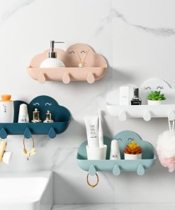 Organizer Bathroom Accessories Hook Soap Holder Cosmetic Storage Box Wall-mounted Shower Toilet Storage Box Plastic Free Punch