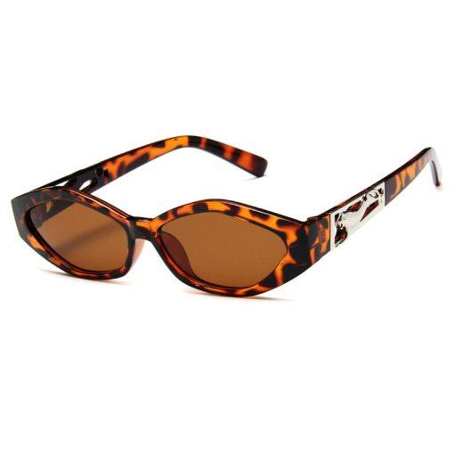 SO&EI Retro Small Frame Polygon Cat Eyes Women Sunglasses Brand Designer Fashion Cheetah Decoration Ladies Sun Glasses UV400