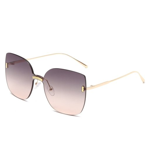 Fashion Rimless Sunglasses Women Oversized Metal Sunglasses Luxury Cat Eye Sunglasses Eyewear UV400 Shades gafas de sol