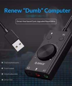 ORICO Portable USB External Sound Card Microphone Earphone Two in One With 3 Port Output Volume Adjustable For Windows Mac Linux