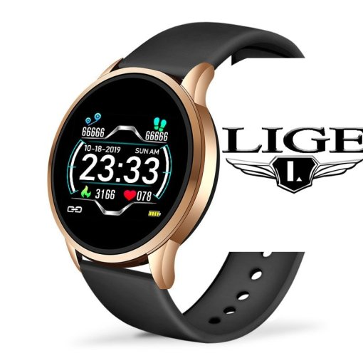 LIGE 2020 New Smart Watch Men Heart Rate Blood Pressure Information Reminder Sport Waterproof Smart Watch for Android IOS Phone
