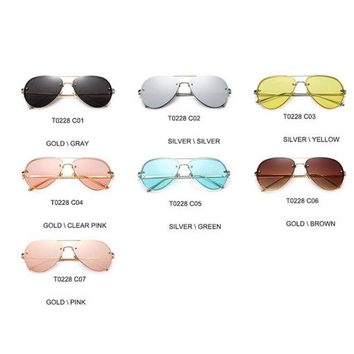 2020 New Fashion Brand Design Vintage Rimless Pilot Sunglasses Women Men Retro Clear Lens Coating Mirror Sun Glasses for Female