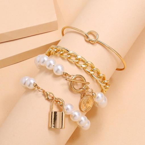 New Fashion Chain Bracelet Gold Womens 4 Sets