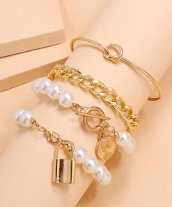 New Fashion Chain Bracelet Gold Womens 4 Sets