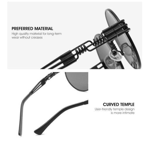 Round Metal Steampunk Sunglasses Men Women Fashion Glasses Brand Designer Retro Vintage Sunglasses UV400 Oculos De Sol Gafas