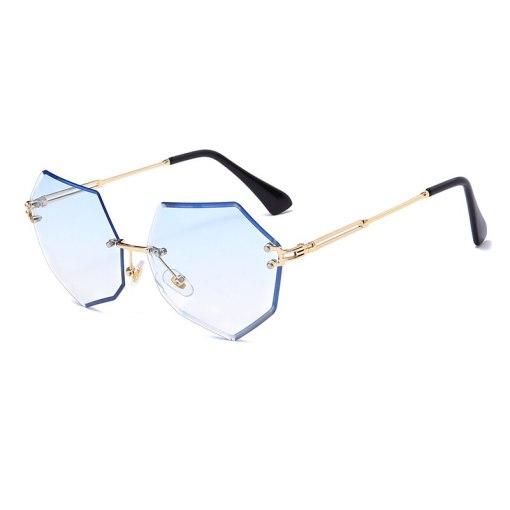 Fashion Polygon Rimless Sunglasses Luxury Brand Design Women Metal Sun glasses UV400 Shades Trend Eyewear Oculos de sol