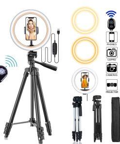 26cm Photo Ringlight Led Selfie Ring Light Phone Bluetooth Remote Lamp Photography Lighting Tripod Holder Youtube Video