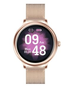 RUNDOING NY13 Stylish women smart watch Round Screen smartwatch for Girl Heart rate monitor compatible For Android and IOS