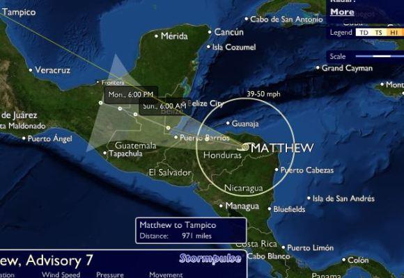 Trayectoria Tormenta Tropical Matthew