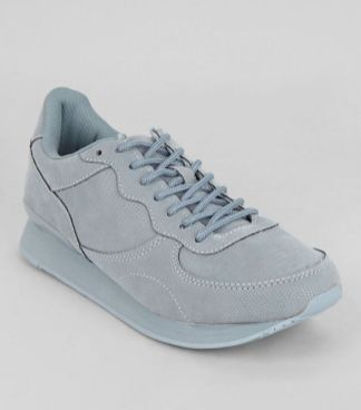 Pale Blue Snakeskin Texture Trainers