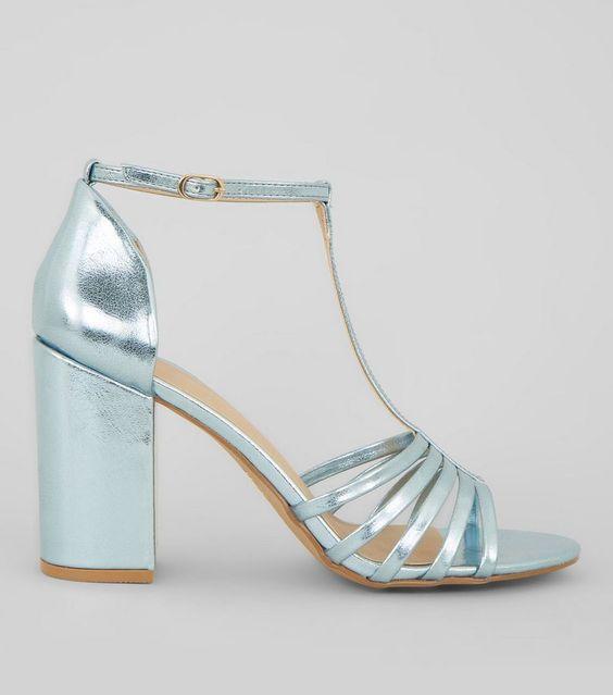 blue metallic sandals