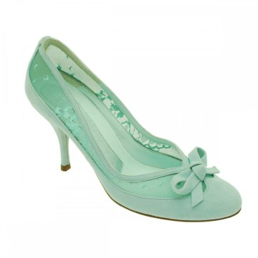 walk in style aqua suede with lace and bow