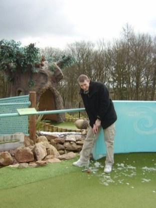 Alton Towers Trip - Chris Playing Golf