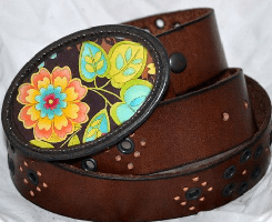 The Nellie Belt – Turquoise, Lime and Orange Buckle with Brown Leather Belt