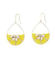 Lemon Beaded Hoop Earrings
