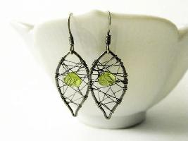 Peridot Leaf Drop Earrings