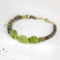 Raw Peridot And Pyrite Bracelet