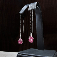 Genuine Rough Ruby Earring