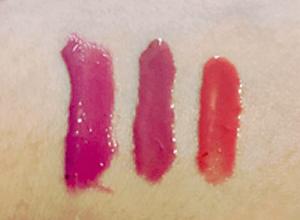 Birthday present lip gloss swatches