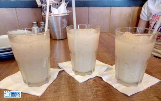 Three glasses of Lychee Quenchers