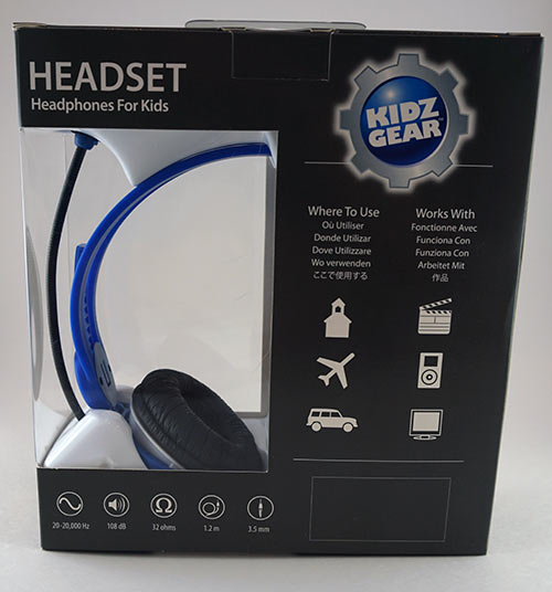 KidzGear Headphones Blue Back of Box