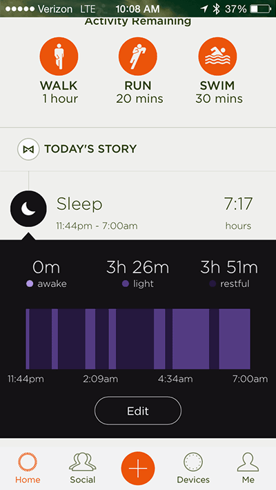 Misfit Sleep Tracking