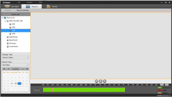 FunLux Zviewer NVR Camera Software - Playback Recorded Video Footage