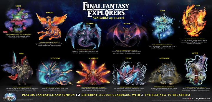 Clash with 12 epic Eidolons in Final Fantasy Explorers
