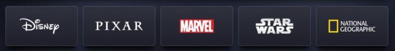 Disney+ menu hoofdcategorieën