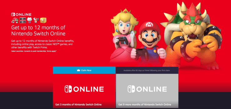 FREE Nintendo Switch Online with Twitch and Amazon Prime