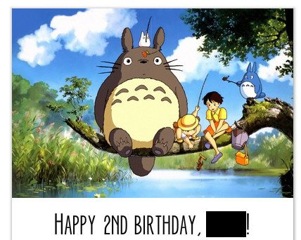 Totoro invitation. Screenshot by Ariane Coffin.