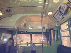 The interior of the Rosa Parks bus.