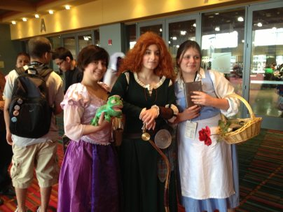 These Disney Princesses came separately to the con and happened to run into each other.