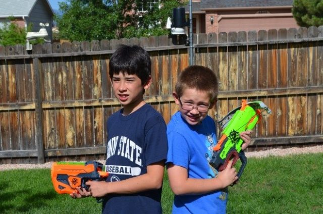 My sons were chomping at the bit to open up our sample Nerf blasters. I had to make them wait until I had a camera available first. Photo: Patricia Vollmer