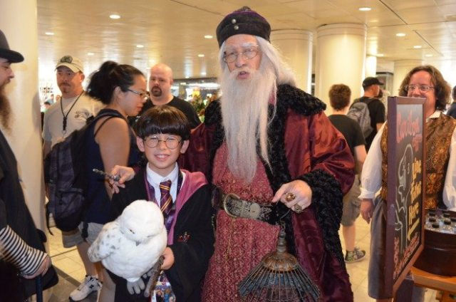 My Harry Potter met Professor Dumbledore at Peachtree Center at last year's Dragon*Con. Photo: Patricia Vollmer.