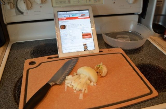 The Chef Sleeve Cutting Board with iPad Stand with an iPad Protective Sleeve is an easy, functional way to use your iPad as your cookbook. Photo: Patricia Vollmer.
