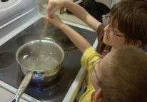 We added sugar slowly and stirred it in making sure the sugar dissolved as we went.