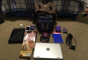 The stuff inside my bag.  Image: Dakster Sullivan
