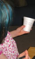 VIP marks her cups so she knows what kind of water bead is in the cup.