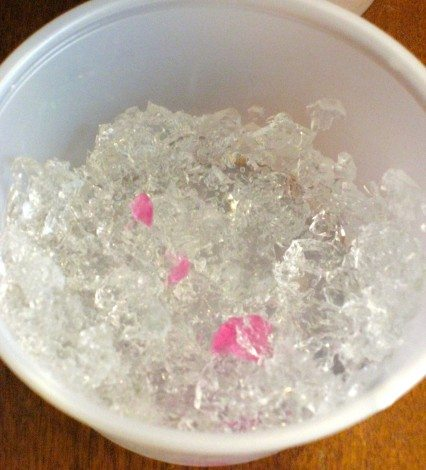 This is how the water beads looked after they had been in the freezer for a few days. One of our pink water beads accidentally also found its way in.