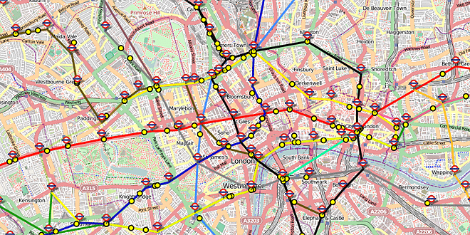 "Map of London Showing ""Live"" Positions of Underground Trains © Matthew Somerville"