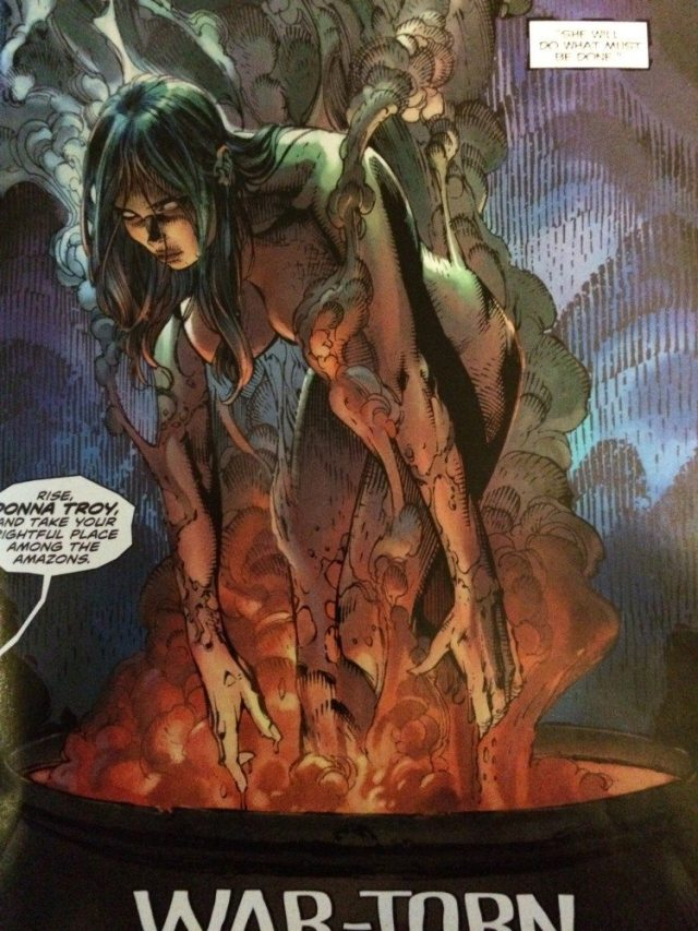 The resurrection of Donna Troy due to blood sacrifice in today's Wonder Woman #37. Art by David Finch.