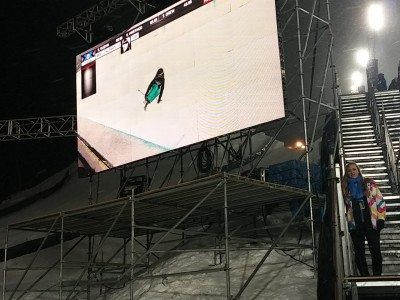 Huge screens placed all around the venue, keep everyone in the action. Photo: Judy Berna