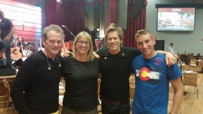 GeekMom Judy with her son,  and Michael and Kevin Bacon    Photo: Judy Berna