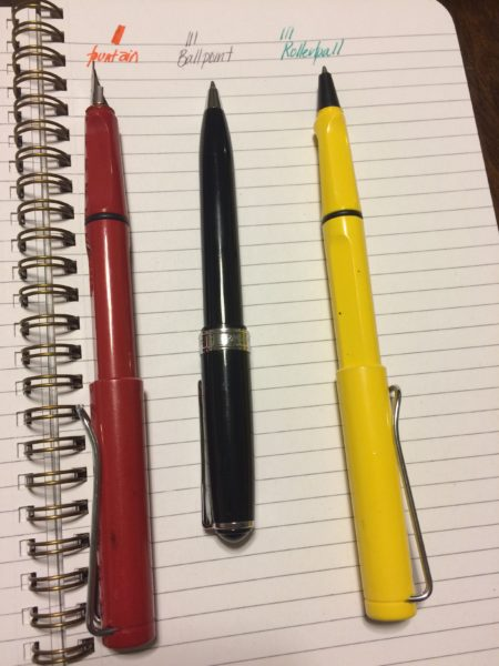 c. Shiri Sondheimer. Pens, from left to right are: Lamay Safari Fountain Pen, Levenger True Writer Ballpoint, and Lamay Safari Rollerball