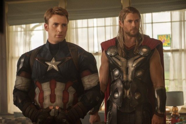 Captain America (Chris Evans) and Thor (Chris Hemsworth) return with the rest of the original Avengers cast for Avengers: Age of Ultron. Photo by Jay Maidment, Marvel 2015